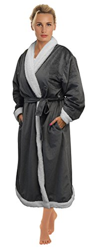 Napa-Womens-Super-Soft-Warm-Sherpa-Bathrobe-Micro-Fleece-Kimono-Collar-Plush-Thick-Spa-Robe-Sleepwear-with-Side-Pockets-0