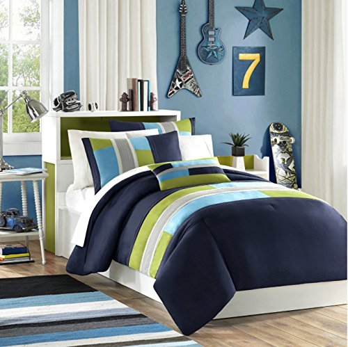 Navy-Teal-Light-Green-Boys-Twin-Comforter-and-Sham-Set-Plus-BONUS-PILLOW-0
