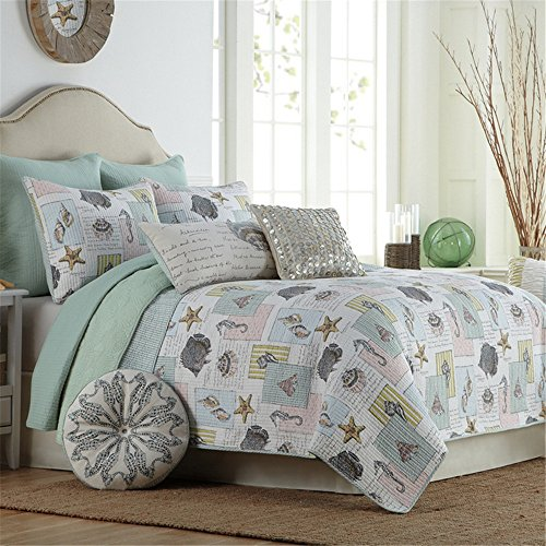 Newrara-Seashell-Beach-Bedding-Queen-Beach-Theme-Quilt-Set-Beach-BedspreadPatchwork-quilt-0