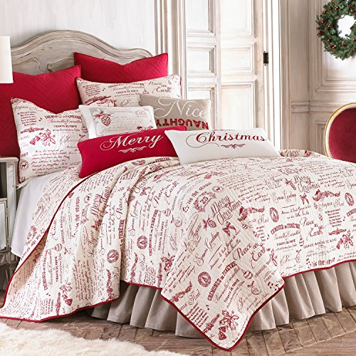 Noelle-Quilt-Set-WhiteRed-Script-Cotton-Christmas-Holiday-0