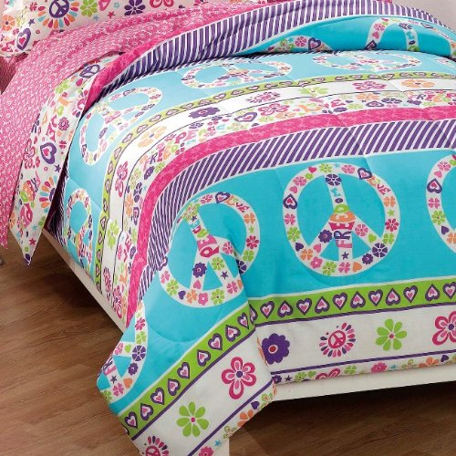 Peace-Signs-Multicolor-Girls-Comforter-Set-0-0