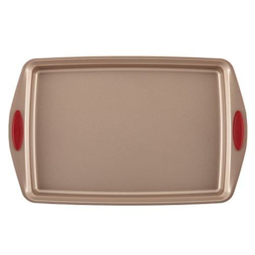 Rachael-Ray-10-Piece-Cucina-Nonstick-Bakeware-Set-Latte-Brown-with-Cranberry-Red-Handle-0-0