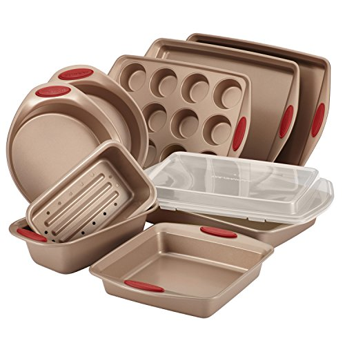 Rachael-Ray-10-Piece-Cucina-Nonstick-Bakeware-Set-Latte-Brown-with-Cranberry-Red-Handle-0
