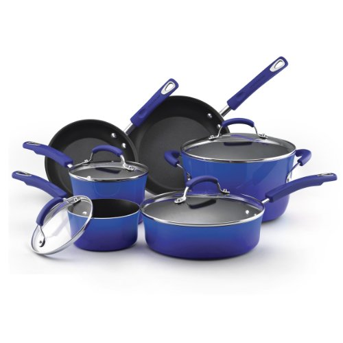 Rachael-Ray-Porcelain-Enamel-II-Nonstick-10-Piece-Cookware-Set-0