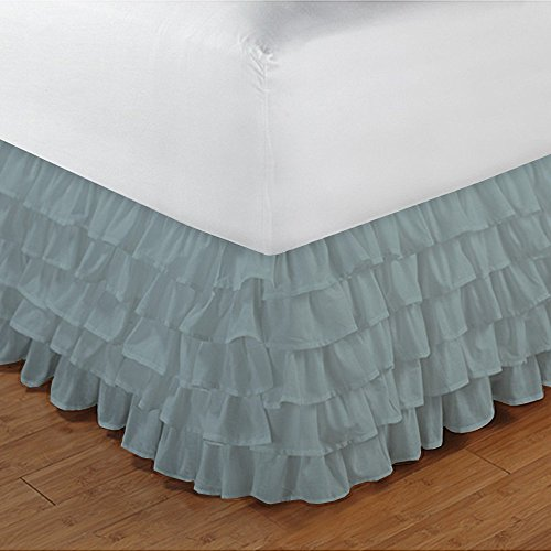 Relaxare-300TC-100-Egyptian-Cotton-1PCs-Multi-Ruffle-Bedskirt-Solid-Drop-Length-21-inches-Ultra-Soft-Breathable-Premium-Fabric-0