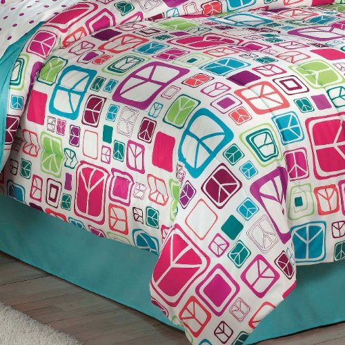 Retro-Peace-Signs-Turquoise-Pink-Girls-Comforter-Set-with-Bedskirt-0-0