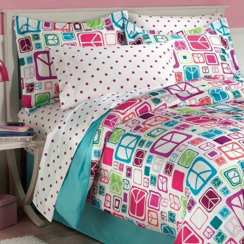 Retro-Peace-Signs-Turquoise-Pink-Girls-Comforter-Set-with-Bedskirt-0-1
