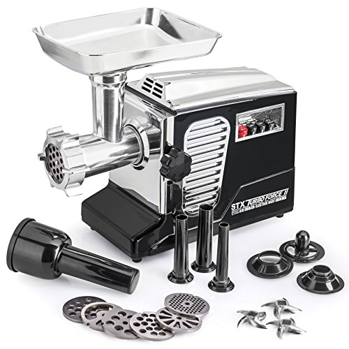 STX-Turboforce-II-Quad-Air-Cooling-Electric-Meat-Grinder-Sausage-Stuffer-Foot-Pedal-Control-6-Grinding-Plates-3-Cutting-Blades-Kubbe-Sausage-Stuffing-Tubes-0