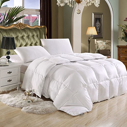 SUPER-LUXURIOUS-Goose-Down-Alternative-Comforter-600-Thread-Count-100-Egyptian-Cotton-Cover-HARD-TO-FIND-70-oz-90-oz-Fill-Weight-750-Fill-Power-Solid-White-Color-0