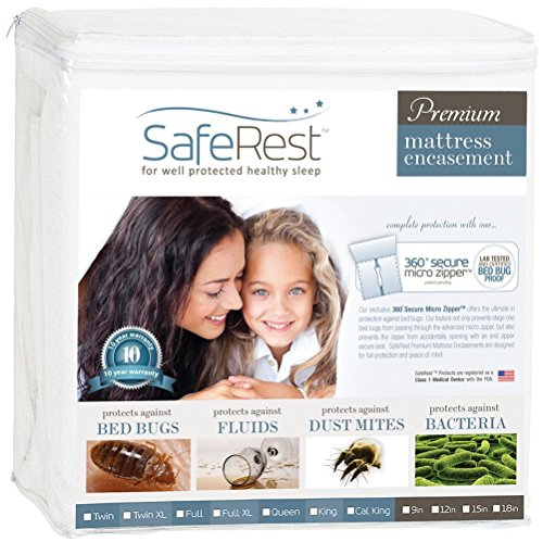 SafeRest-Premium-Zippered-Mattress-Encasement-Lab-Tested-Bed-Bug-Proof-Dust-Mite-Proof-and-Waterproof-Breathable-Noiseless-and-Vinyl-Free-0