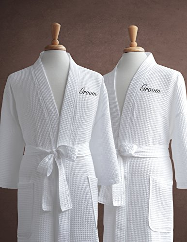 Same-Sex-Couples-Waffle-Weave-Bathrobe-Set-100-Egyptian-Cotton-UnisexOne-Size-Fits-Most-Spa-Robe-Luxurious-Soft-Plush-Elegant-Script-Embroidery-Perfect-Wedding-Gift-Luxor-Linens-0