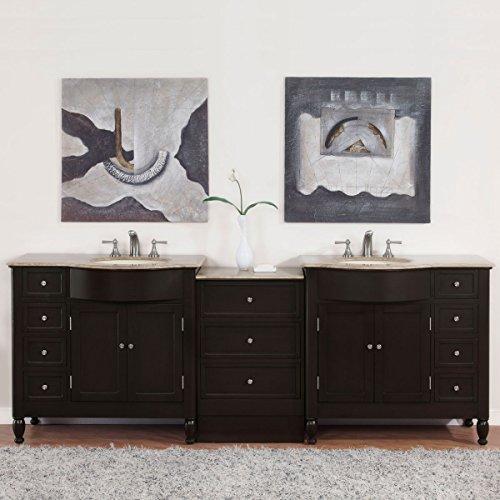 Silkroad-Exclusive-Countertop-Travertine-Double-Sink-Bathroom-Vanity-with-Cabinet-95-Inch-0