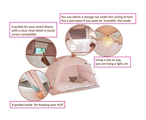 Simple-Fabric-Floor-less-Indoor-Privacy-Tent-on-Bed-Blackout-keep-Warm-Play-Tent-with-FREE-GIFT-0-1