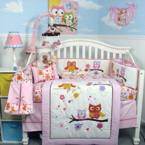 SoHo-Pink-Dancing-Owl-Baby-Crib-Nursery-Bedding-Set-with-Diaper-bag-14-pcs-set-0