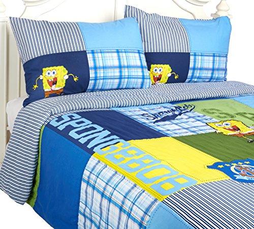 Spongebob-Squarepants-Quilt-Pillow-Sham-Set-Plaid-Patches-Cotton-Bedding-0