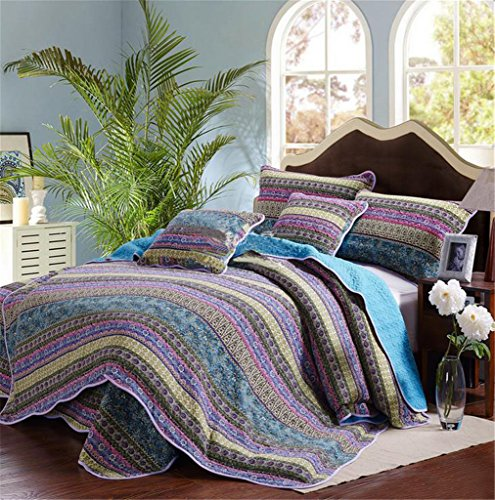 Striped-Jacquard-Style-3-Piece-Patchwork-BedspreadQuilt-Sets-100-CottonQueen-0