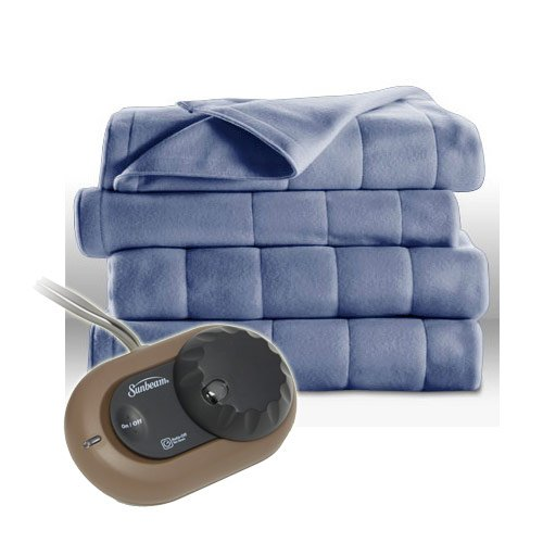 Sunbeam-Heated-Electric-Blanket-Royal-Dreams-Quilted-Fleece-Twin-Dusty-Blue-0