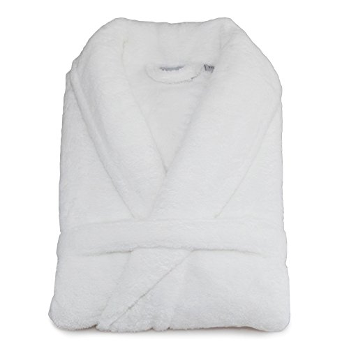 Super-Plush-Bathrobe-Turkish-100-Polyester-Unisex-Large-X-Large-Solid-White-0-0
