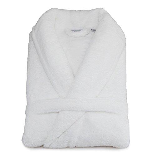 Super-Plush-Bathrobe-Turkish-100-Polyester-Unisex-Large-X-Large-Solid-White-0-0