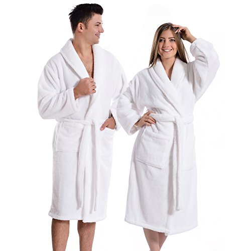 Super-Plush-Bathrobe-Turkish-100-Polyester-Unisex-Large-X-Large-Solid-White-0