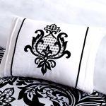 Trendy-Damask-Black-White-Teal-6-Pc-Girl-Comforter-SUPERSET-2-Shams-2-Decorative-Pillows-Home-Style-Brand-Sleep-Mask-Bedding-Set-0-0