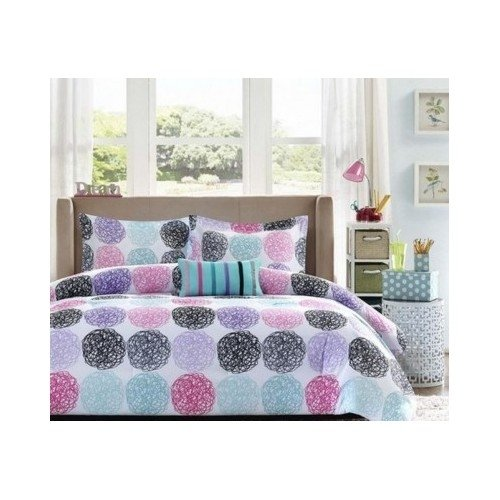 Twin-Xl-Reversible-Comforter-Set-Pink-Teal-Purple-Bedding-Teen-Girls-Pillows-0-0