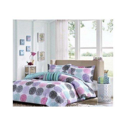 Twin-Xl-Reversible-Comforter-Set-Pink-Teal-Purple-Bedding-Teen-Girls-Pillows-0