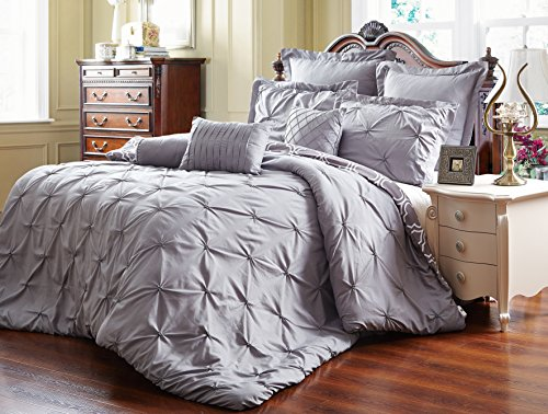 Unique-Home-8-Piece-Reversible-Pinch-Pleat-Comforter-Set-Fade-Resistant-Wrinkle-Free-No-Ironing-Necessary-Super-Soft-Mater-grey-0