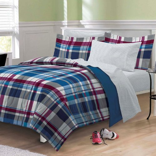 Varsity-Plaid-Ultra-Soft-Microfiber-Comforter-Bedding-Set-Blue-Multi-0