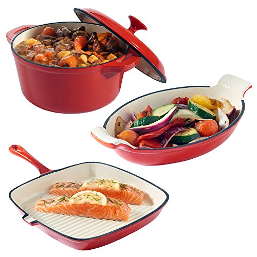 VonShef-Cast-Iron-Dishes-Set-of-3-Casserole-Gratin-and-Griddle-Set-Oven-to-Table-Cookware-0