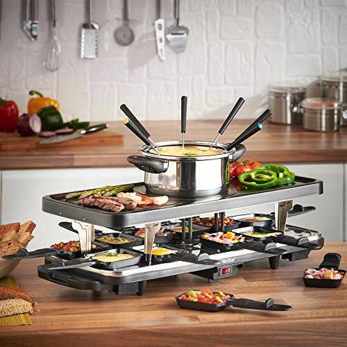 VonShef-Raclette-Party-Grill-with-6-Fork-Fondue-Set-12-Raclette-Pans-0-0