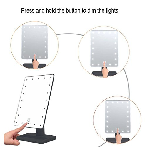 WanEway-Next-Generation-Makeup-Mirror-with-Lights-20-Bright-LEDs-12-Large-Screen-Touch-Dimmable-with-Memory-Function-Lighted-Illuminated-Vanity-Cosmetic-Mirrors-Black-0-1