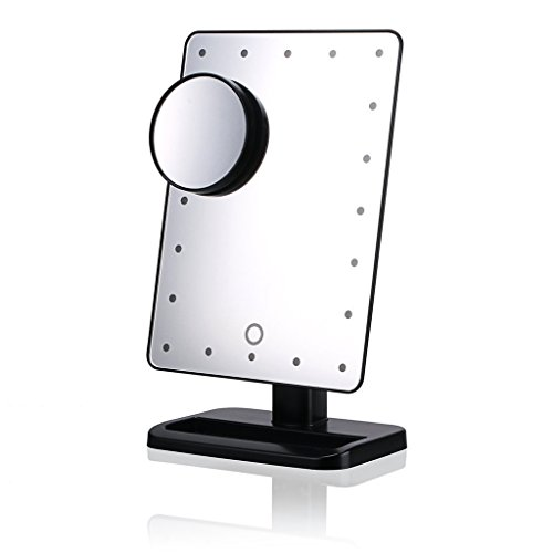 WanEway-Next-Generation-Makeup-Mirror-with-Lights-20-Bright-LEDs-12-Large-Screen-Touch-Dimmable-with-Memory-Function-Lighted-Illuminated-Vanity-Cosmetic-Mirrors-Black-0