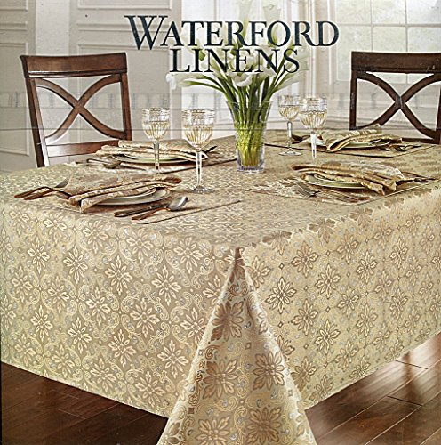 Waterford-Linens-Cristina-SilverGold-Tablecloth-70-by-104-Inch-Oblong-Rectangular-0