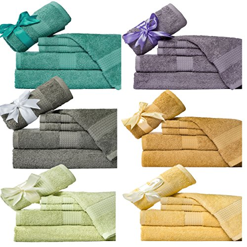 Weavely-Supersoft-100-Superior-Cotton-6-Piece-Bath-Towel-Set-Hotel-Spa-QualityTowel-2-x-Bath-Towels-30X56-2-x-Hand-Towels-16X28-2-x-Wash-Cloths-13×13-0