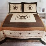 Western-Peak-3-Piece-Western-Texas-Lone-Star-Cabin-Lodge-Barb-Wire-Luxury-Quilt-Bedspread-Coverlet-Comforter-Brown-Beige-Set-0