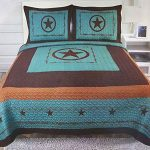 Western-Peak-3-Piece-Western-Texas-Lone-Star-Cabin-Lodge-Barb-Wire-Luxury-Quilt-Bedspread-Coverlet-Comforter-Turquoise-Brown-Set-0