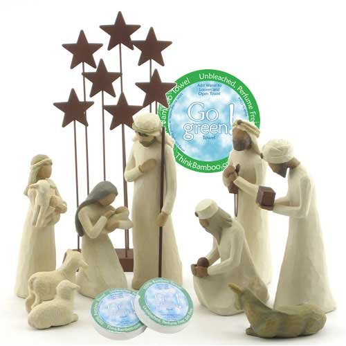 Willow-Tree-10-Piece-Starter-Nativity-Set-By-Susan-Lordi-with-Go-Green-Compressed-Bamboo-Towels-0