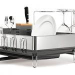 simplehuman-Steel-Frame-Dish-Rack-with-Wine-Glass-Holder-Fingerprint-Proof-Stainless-Steel-Grey-0