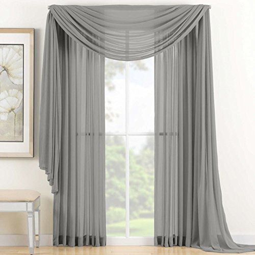 1-X-Beautiful-Elegant-Voile-Sheer-Valance-Scarf-37-X-216-Topper-Grey-Silver-0