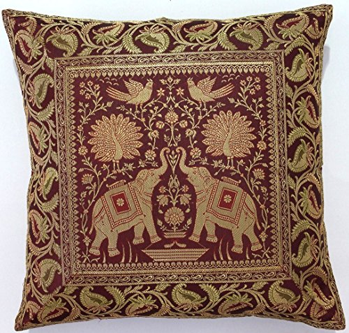 10-Pc-Lot-Square-Silk-Home-Decor-Cushion-Cover-Indian-Silk-Brocade-Pillow-Cover-Handmade-Banarsi-Pillow-Cover-16-X-16-Inch-0-1