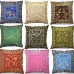 10-Pc-Lot-Square-Silk-Home-Decor-Cushion-Cover-Indian-Silk-Brocade-Pillow-Cover-Handmade-Banarsi-Pillow-Cover-16-X-16-Inch-0