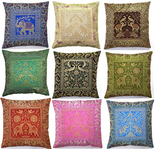 10-Pc-Lot-Square-Silk-Home-Decor-Cushion-Cover-Indian-Silk-Brocade-Pillow-Cover-Handmade-Banarsi-Pillow-Cover-16-X-16-Inch-0