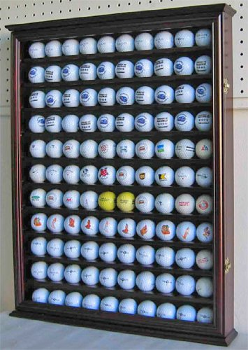 110-Golf-Ball-Display-Case-Wall-Cabinet-Holder-with-glass-door-Solid-Wood-Cherry-Finish-0