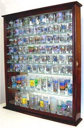 110-Souvenir-Shot-Glass-Shooter-Display-Case-Holder-Cabinet-Wall-Rack-Glass-Door-100-Exposure-SC09-MA-0