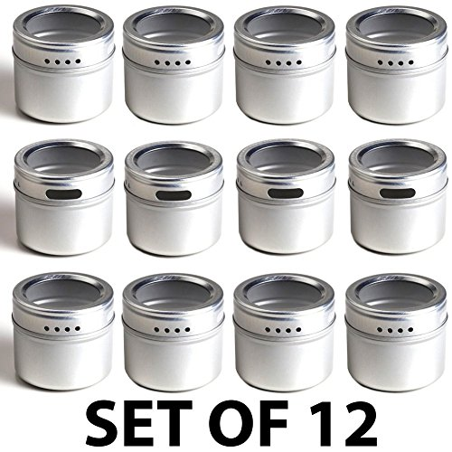 12-Magnetic-Spice-Tins-Clear-Top-Lid-Round-Storage-Spice-Rack-Set-of-12-See-Through-Sift-or-Pour-Lid-Magnetic-Tins-Can-Be-Placed-On-Refrigerator-or-Flat-Metal-Surface-Talented-Kitchen-Exclusive-0-0