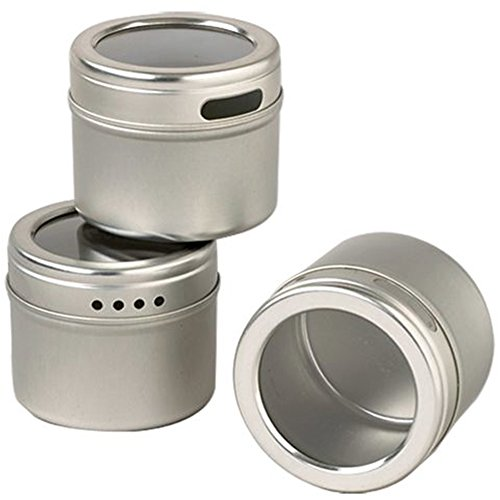 12-Magnetic-Spice-Tins-Clear-Top-Lid-Round-Storage-Spice-Rack-Set-of-12-See-Through-Sift-or-Pour-Lid-Magnetic-Tins-Can-Be-Placed-On-Refrigerator-or-Flat-Metal-Surface-Talented-Kitchen-Exclusive-0-1