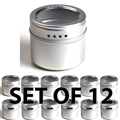 12-Magnetic-Spice-Tins-Clear-Top-Lid-Round-Storage-Spice-Rack-Set-of-12-See-Through-Sift-or-Pour-Lid-Magnetic-Tins-Can-Be-Placed-On-Refrigerator-or-Flat-Metal-Surface-Talented-Kitchen-Exclusive-0