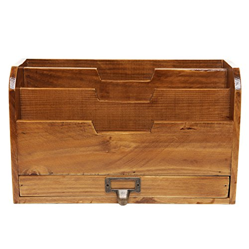 3-Tier-Country-Rustic-Wood-Office-Desk-File-Organizer-Mail-Sorter-Tray-Holder-w-Storage-Drawer-0-0