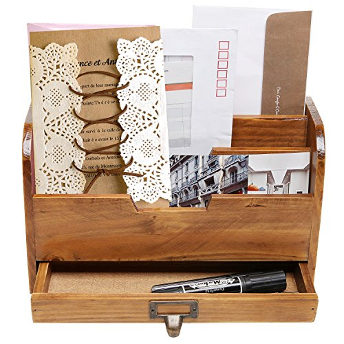 3-Tier-Country-Rustic-Wood-Office-Desk-File-Organizer-Mail-Sorter-Tray-Holder-w-Storage-Drawer-0-1